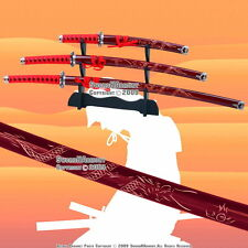4 PCS Red Classic Dragon Japanese Samurai Sword Set Katana Wakizashi Tanto Stand