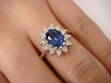 1.50 CT GENUINE AAA TANZANITE AND 0.30 CT DIAMONDS ROYAL ENGAGEMENT RING, SIZE 7