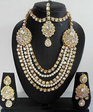 Indian Fashion Jewelry Bollywood Bridal Crystal Necklace Earrings Bracelet Sets