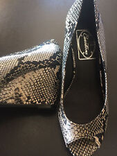 New CURATIONS Snake Print Peep Toe Wedge, Size 6M