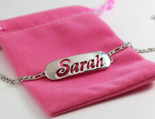 SARAH Name Bracelet 18ct White Gold Plated Personalised Jewellery Gift Fashion