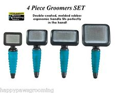 PET Grooming Ergnomic PRO SLICKER BRUSH 4pc SET KIT Dematting Mat Dog Cat Slicka