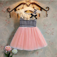 Summer Baby Girls Sleeveless tutu Dress Lace Bow-knot Striped Stitching