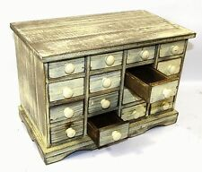 Vintage Wooden French Country Kitchen Home Office Workshop Chest Draws Organiser