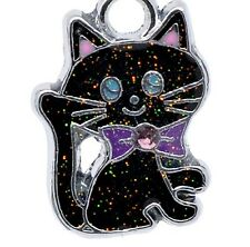 LOVELY BLACK & SILVER CAT WITH ONE PINK RHINESTONE CLIP ON CHARM -SILVER TONE