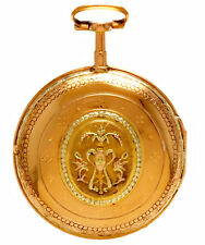 18K Multi-Colored Gold Repousse Swing-Out Case Pocket Watch & Key, Verge Fusee