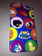 GLOSSY PLASTIC BACK CASE COVER FOR APPLE iPHONE 4 4S - TINY FARM ANIMALS DESIGN