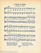 """UNIVERSITY OF IDAHO Vntg Song c 1906 """"A Toast to Idaho"""""""