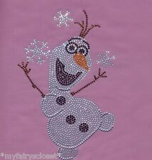 Frozen OLAF Disney iron-on rhinestone transfer applique bling patch