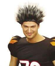 Short Spikey Grey Mens Wig Sports Football Rugby Punk Rocker Fancy Dress