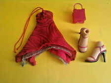 Girlz Girl Bratz Doll Clothes Outfit Red Dress Purse Shoes Lot