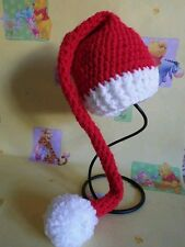 Hand made crochet newborn baby christma santa elf hat with pom pom a photo prop,