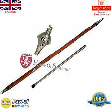 "DRUM MAJOR MACE STAFF,STAVE 60"" EMBOSSED HEAD SILVER LION  & FREE CARRYING CASE"