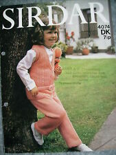 VINTAGE GIRLS TUNIC TOP & TROUSERS TROUSER-SUIT KNITTING PATTERN