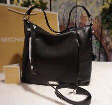 NWT MICHAEL KORS CORINNE LARGE Pebbled Leather Shoulder bag BLACK/SILVER $348