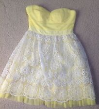 NWT~Minuet Organza Dress Yellow White Floral Lace Scalloped Overlay Strapless~S