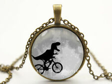 Dinosaur Cycling Cabochon Photo Bronze Glass Chain Pendant Necklace 132#