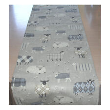 "4ft Table Runner 120cm Sheep Cream Beige Grey Tartan Plaid 48"" Farmhouse"