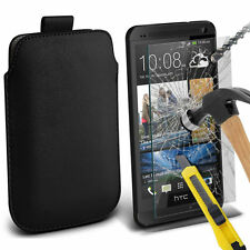 Black PU Leather Pull Tab Case Pouch & Glass for HTC One M7