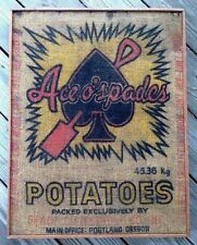 Ace o's Spades POTATO SACK advertising SIGN ? poker cards GAMBLING country store