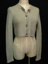 THEORY Heather Grey Pure Cashmere Cropped Cardigan Sweater Medium