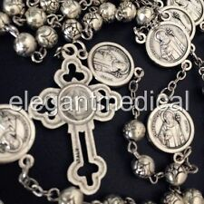 SILVER Rose bead catholic Rosary Italy St.Benedict Crucifix Cross necklace gift