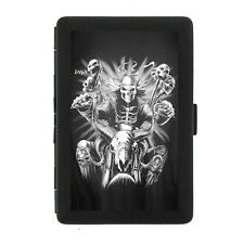 Black Metal Cigarette Case Holder Box Skull D7 Biker