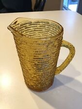 "RETIRED ANCHOR HOCKING AMBER LIDO SORENO RIBBED JUICE PITCHER 7"" Tall 26 oz."
