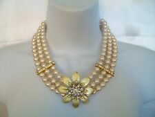 VERSONA ACCESSORIES 3 STRAND FAUX PEARL RHINESTONE FLOWER NECKLACE NWT