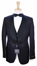 NWT New * CORNELIANI * Black Tonestripe Wool-Silk Shawl 3-Pc Tuxedo Suit 36R