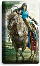 WARRIOR GIRL ON WILD HORSE PHONE JACK TELEPHONE WALL PLATE COVER GAMER ROOM ART