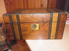 Antique Victorian Brass Bound Writing Box. Leather Interior and Ebony Bands.