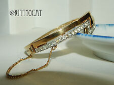Panetta Hinged Goldtone Double Z Bracelet With Rhinestones And Safety Chain