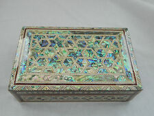 "Egyptian Inlaid Mother of Pearl Paua Wood Stars Jewelry Box 8""X 5"" Quality #729"