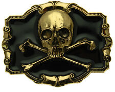 Gold Plated Skull and Crossbones Belt Buckle In a Gift Box + Display Stand. (BK)