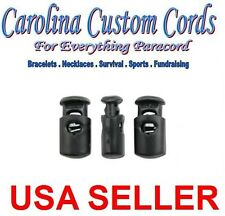 50 Spring Loaded Ellipse Cord Locks Toggle Stoppers Stop Black Cordlocks Ends