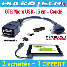 Cable Adaptateur Micro Usb OTG Host Coudé pour Wiko Darkfull DarkMoon DarkNight