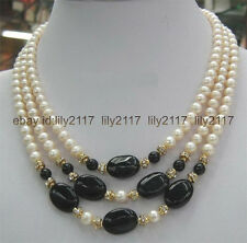 fashion Real 3 Rows white 8mm Pearl & 13x18mm Black Agate Necklace 17-19""