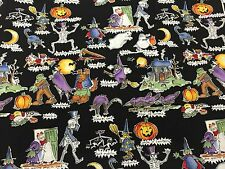 1995 Old Devil Moon Alexander Henry Halloween Witch Monster Fabric in Black BTHY