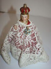 Infant of Prague Porcelain Hand Painted Figure Statue Cloth Robes Marked 2077