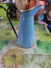 Ancien Petit Broc Pichet Bleu Émail Vintage 1930 Salle de Bain décoration 33 cm