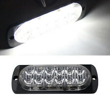 Car Truck Ultra Slim White 12 LED Surface Mount Flashing Strobe Warning Lights