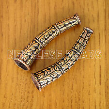 BD2941 Nepalese Tibetan Repousse Copper Large Cone  2 Beads Tibet Nepal Ethnic