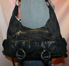 BANANA REPUBLIC Black Medium Canvas Leather Shoulder Hobo Tote Slouch Purse Bag