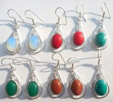 RED AGATE &!MIX GEMSTONE 5PR WHOLESALE LOT!! 925 SILVER STERLING OVERLAY EARRING
