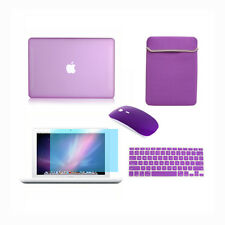 """5in1 Rubberized PURPLE Case Macbook White 13"""" +Keyboard Cover +LCD + Bag+Mouse"""