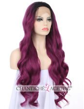 Best Ombre Purple Synthetic Hair Front Lace Wigs Long Natural Wavy Heat Safe UK