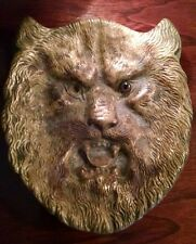 Eerie Old Antique One-Eyed Wolf Man Ashtray Cast Brass w Scary Brown Glass Eye