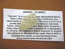 "(r35-62) 1"" Ulexite gemstone Mineral TV rock mine mined rocks Boron California"