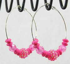 Endless hoop earrings jumbo big disco shambala bead silver pink 2.25""